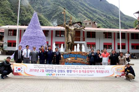 Korean Delegation, arrived in Machupicchu Village to promote the Pyeongchan Olympic Winter Games - 2018