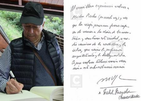 Vargas Llosa left a moving message after his visit to Machupicchu